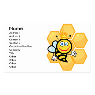 cute queen bee and beehive business card