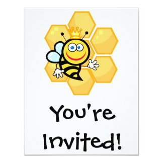 cute queen bee and beehive card