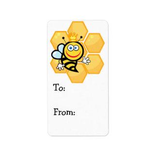 cute queen bee and beehive label