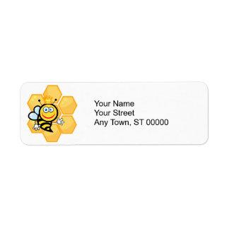 cute queen bee and beehive return address label
