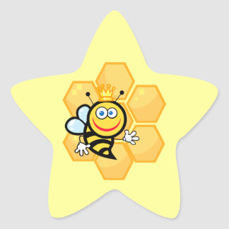 cute queen bee and beehive star stickers