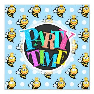 Cute Queen Bee, Baby Blue & White Polka Dots Card
