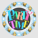 Cute Queen Bee, Baby Blue & White Polka Dots Round Stickers