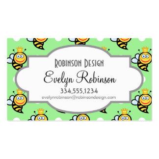 Cute Queen Bee, Light Green & White Polka Dots Business Card