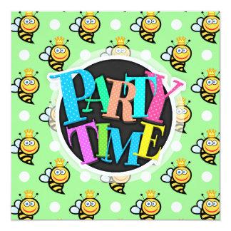 "Cute Queen Bee, Light Green & White Polka Dots 5.25"" Square Invitation Card"