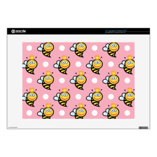 "Cute Queen Bee, Light Pink & White Polka Dots Skin For 15"" Laptop"