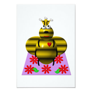 """Cute queen bee on a quilt 3.5"""" x 5"""" invitation card"""
