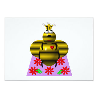 """Cute queen bee on a quilt 5"""" x 7"""" invitation card"""