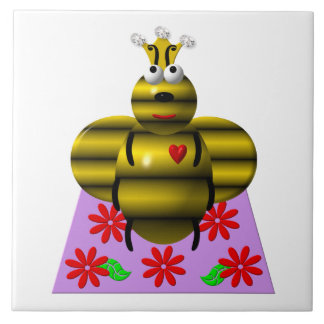 Cute queen bee on a quilt large square tile