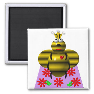 Cute queen bee on a quilt magnet