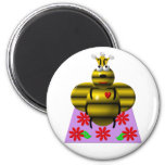 Cute queen bee on a quilt magnets