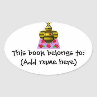 Cute queen bee on a quilt oval sticker