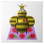 Cute queen bee on a quilt tiles