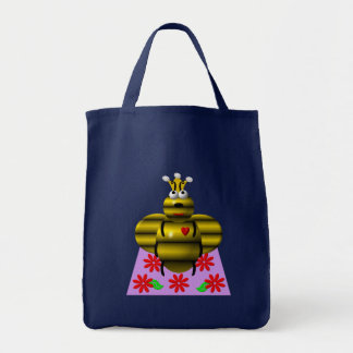 Cute queen bee on a quilt tote bag