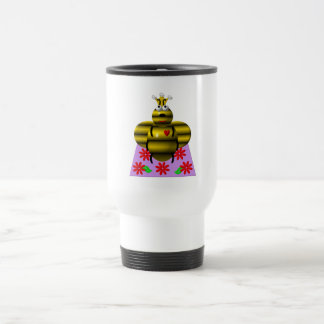 Cute queen bee on a quilt travel mug