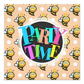 Cute Queen Bee, Peach & White Polka Dots Card