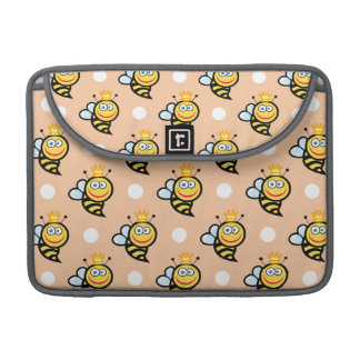 Cute Queen Bee, Peach & White Polka Dots Sleeve For MacBooks