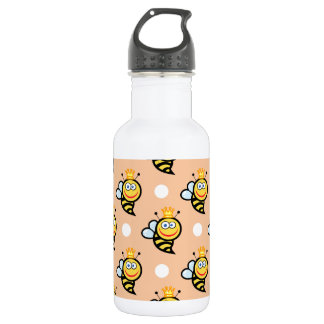 Cute Queen Bee, Peach & White Polka Dots Stainless Steel Water Bottle