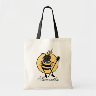 CUTE QUEEN BEE PERSONALIZED BUDGET TOTE BAG