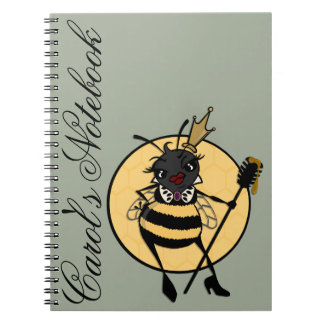 CUTE QUEEN BEE PERSONALIZED SPIRAL NOTEBOOK