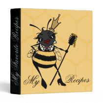 CUTE QUEEN BEE WITH HONEYCOMB RECIPE 3 RING BINDER