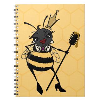 CUTE QUEEN BEE WITH HONEYCOMB SPIRAL NOTEBOOK