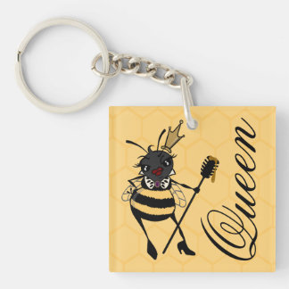 CUTE QUEEN BEE WITH HONEYCOMB SQUARE KEY CHAIN