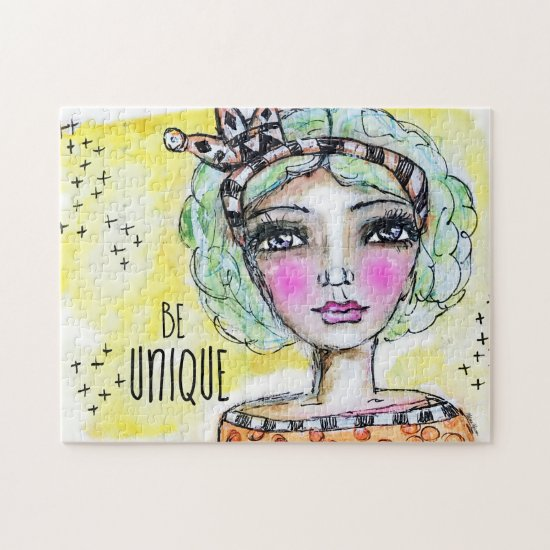Cute Queen Princess Watercolor Girl Whimsical Art Jigsaw Puzzle