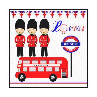 Cute Queens Guards Red Bus London Themed Picture Canvas Print