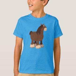 Cute Quiet Cartoon Shire Horse Children T-Shirt