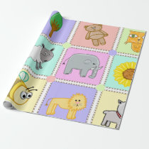 Cute quilt pattern on baby shower wrapping paper