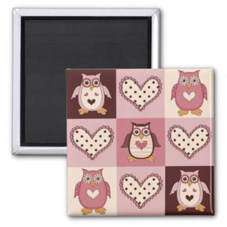 Cute Quilt Squares Retro Owls Valentine Tees, Gift Magnet
