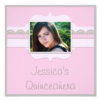 Cute Quinceañera Pink & Grey Add Your Photo Invitation