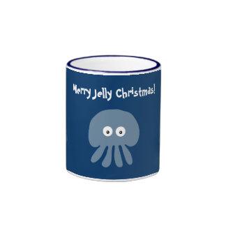 Cute & Quirky Blue Jellyfish & Christmas Trees Mug