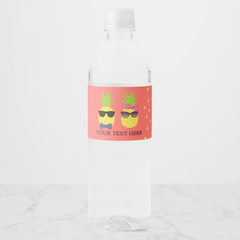 Cute quirky exotic tropical Beach fun pineapples Water Bottle Label