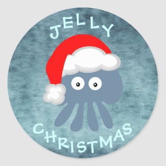 Cute & Quirky Jelly Christmas Jellyfish Santa Classic Round Sticker