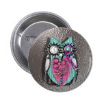 Cute Quirky Owl Steam Punk Style Pink Teal Silver 2 Inch Round Button