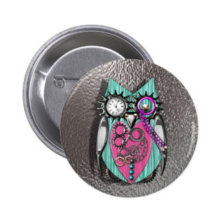 Cute Quirky Owl Steam Punk Style Pink Teal Silver Pinback Button