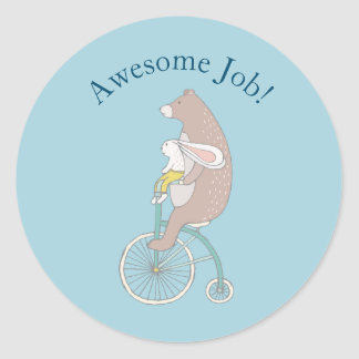 Cute Rabbit and Brown Bear Encouragement Classic Round Sticker