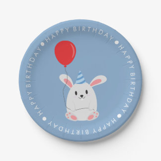 Cute Rabbit Birthday Party 7 Inch Paper Plate