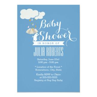 Cute Rabbit Blue Baby Shower Invitations