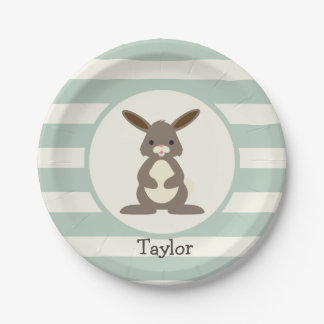 Cute Rabbit, Bunny on Light Sage Green Paper Plate