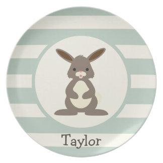 Cute Rabbit, Bunny on Light Sage Green Dinner Plate