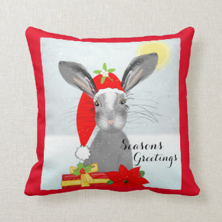 Cute Rabbit Christmas Holiday Decor Throw Pillow