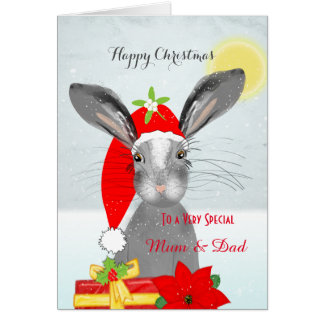 Cute Rabbit Christmas Holiday Personalized Special Card