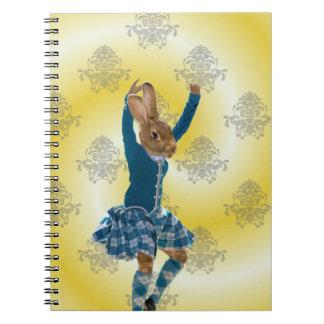 Cute rabbit dancing spiral notebooks