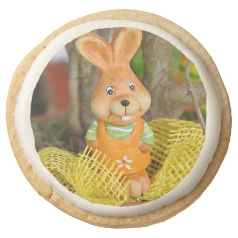 Cute Rabbit Easter Treat Round Shortbread Cookie