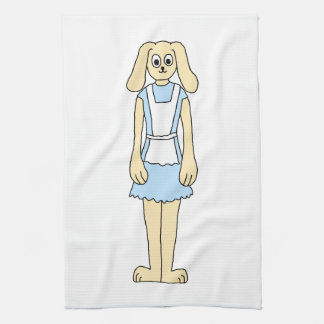Cute rabbit in a blue dress. kitchen towel