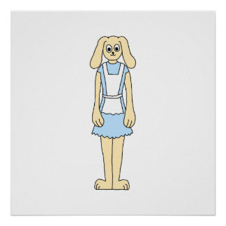 Cute rabbit in a blue dress. posters