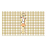 Cute rabbit on a check background. Double-Sided standard business cards (Pack of 100)